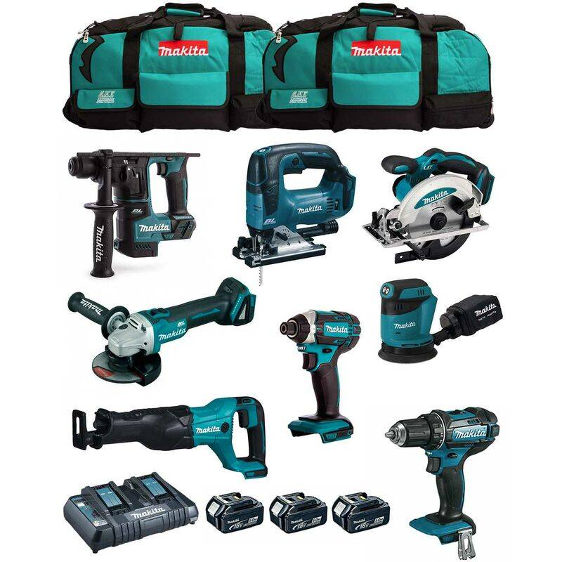 MAKITA Kit MK801 (DDF482 DHR171 DGA504 DTD152 DJV182 DSS610 DJR186 DBO180 3 x