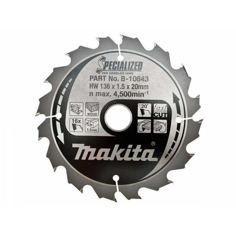MAKITA Lame scie circulaire Ø 136 mm Bois - B-10643