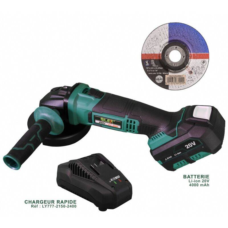 SILEX Meuleuse d'angle sans fil ® Batterie Li-Ion x 1 batterie 4 Ah - Silex