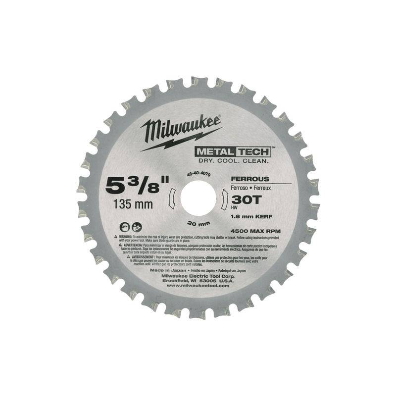 MILWAUKEE Lame scie circulaire métal MILWAUKEE Ø 135 mm - 30 dents - 48404070