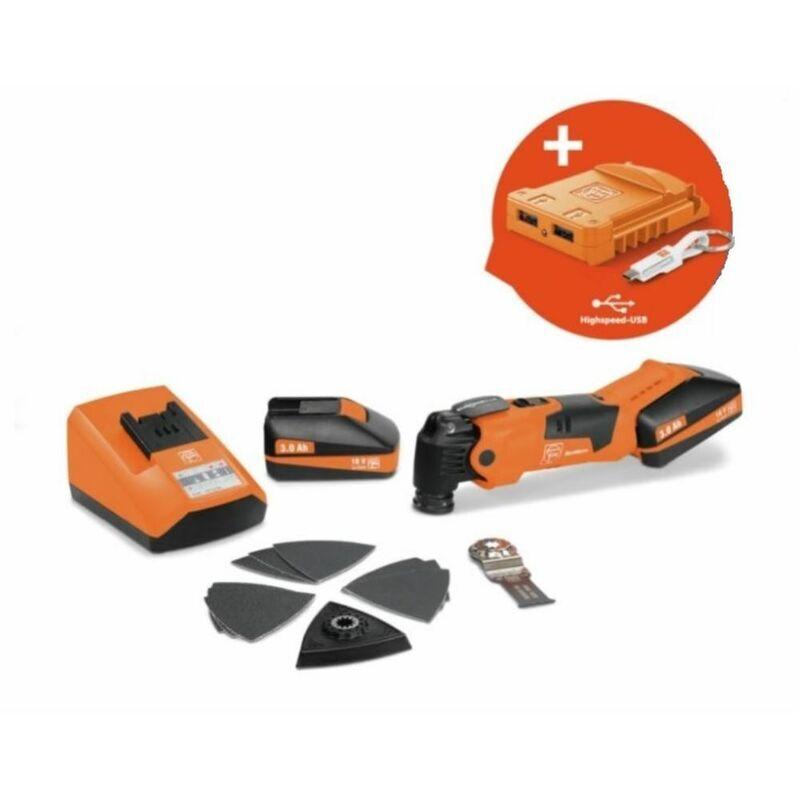 Fein Batterie 18V MultiMaster AFMM 18 QSL   2x batteries 3,0 Ah + adaptateur USB