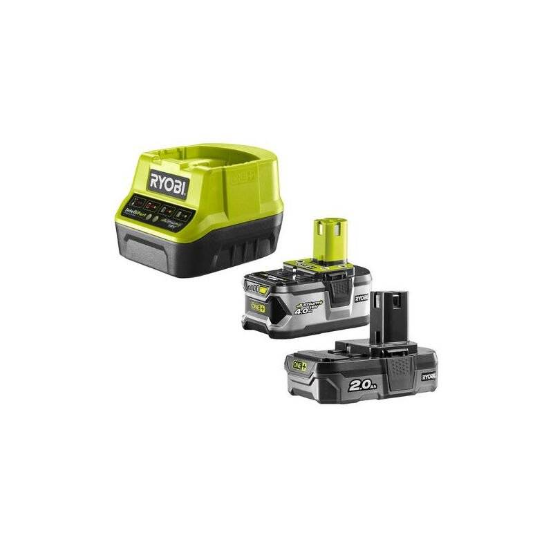 Ryobi - Pack 2 batteries Lithium+ 18 V One+ 4.0 Ah et 2.0 Ah + chargeur rapide