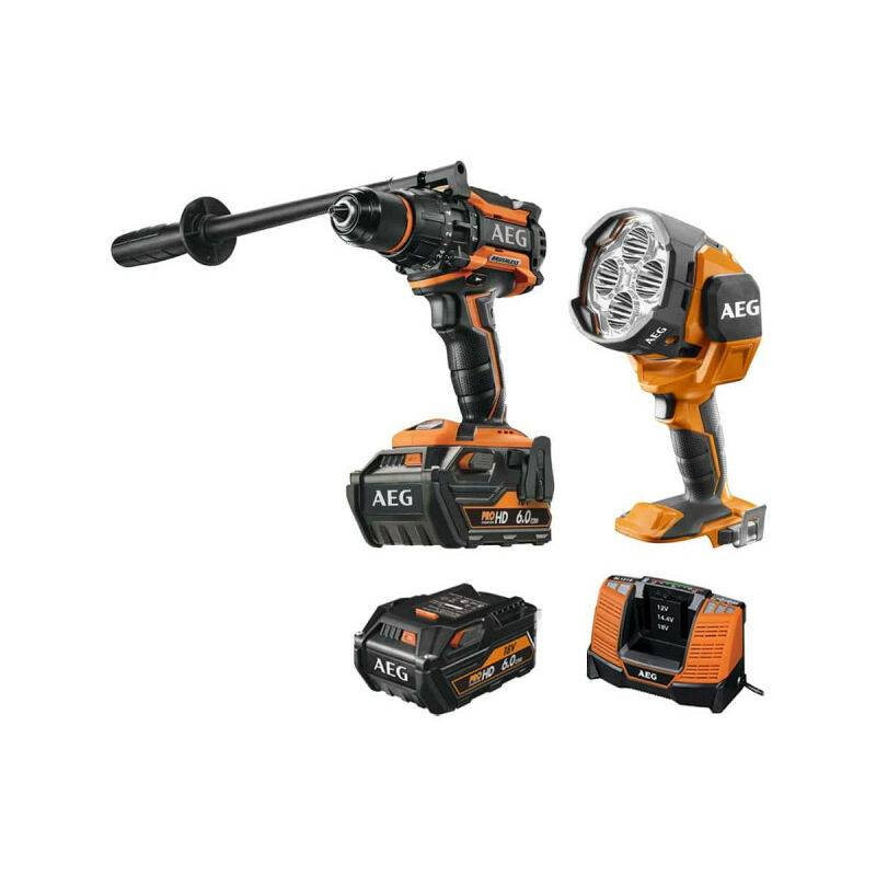 A.e.g - Pack AEG Perceuse percussion Brushless 18V BSB18BL-602C - Lampe torche