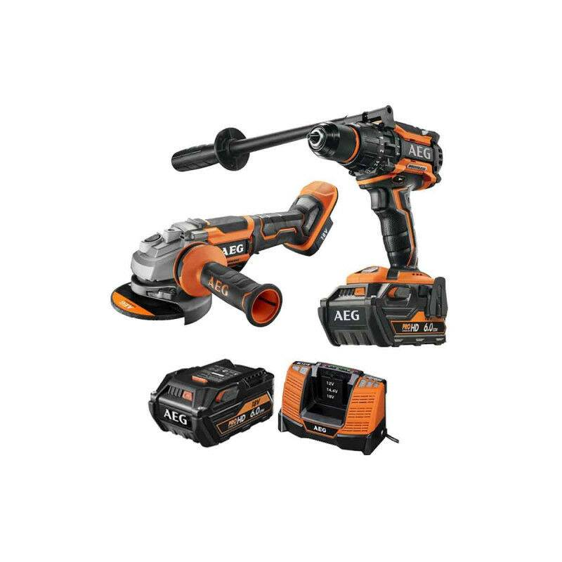 A.e.g - Pack AEG Perceuse percussion Brushless 18V BSB18BL-602C - Meuleuse