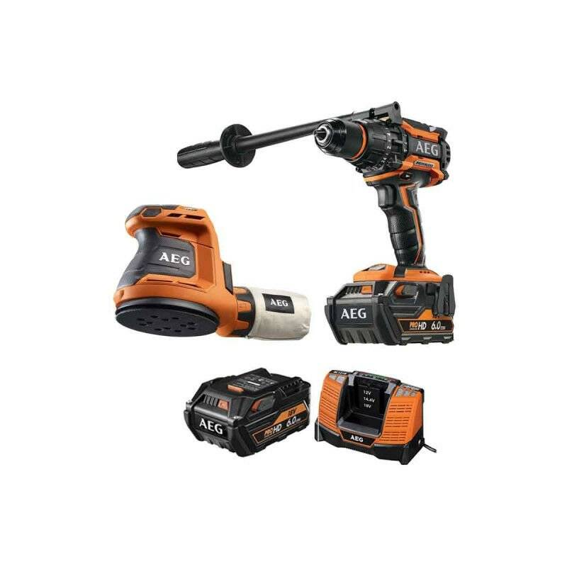 A.e.g - Pack AEG Perceuse percussion Brushless 18V BSB18BL-602C - Ponceuse