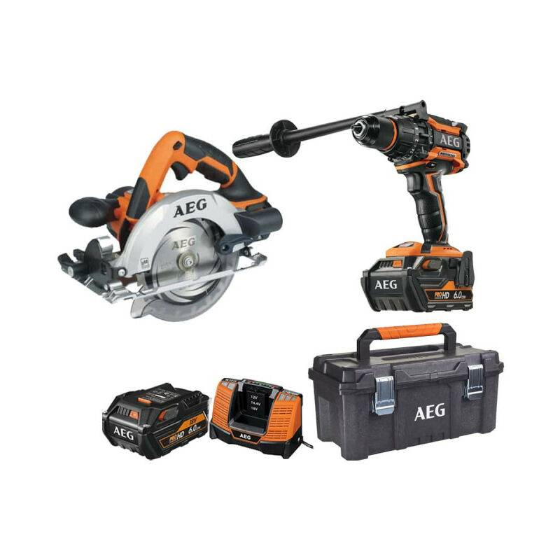 AEG Pack AEG Perceuse percussion Brushless 18V BSB18BL-602C - Scie circulaire 18V