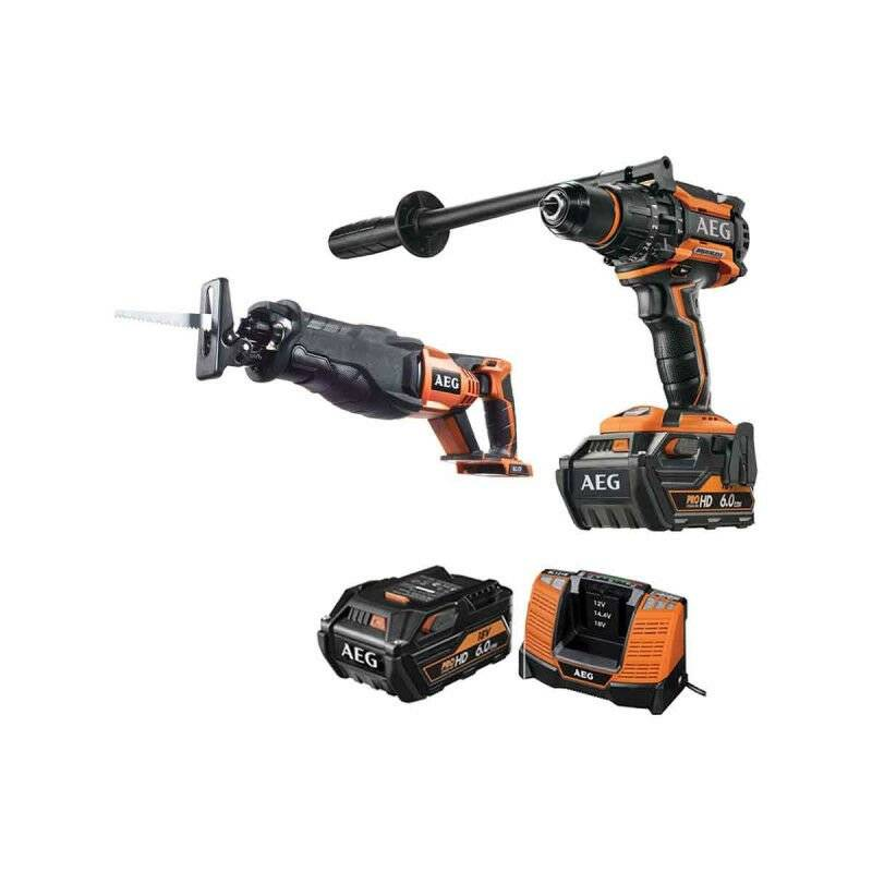 A.e.g - Pack AEG Perceuse percussion Brushless 18V BSB18BL-602C - Scie sabre