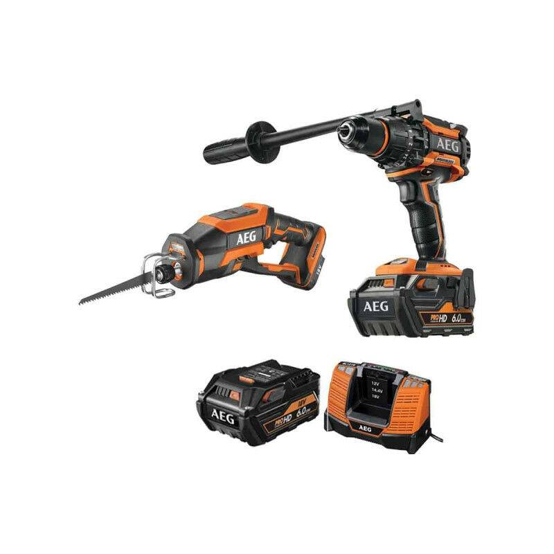 A.E.G Pack AEG Perceuse percussion Brushless 18V BSB18BL-602C - Scie sabre compacte