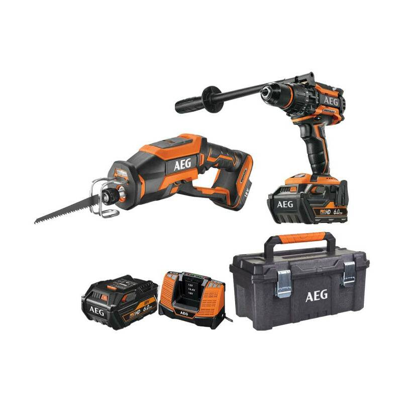 AEG Pack AEG Perceuse percussion Brushless 18V BSB18BL-602C - Scie sabre compacte
