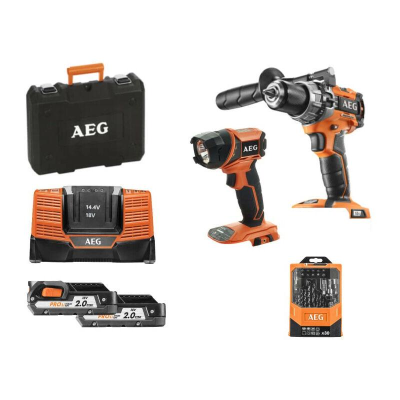 A.e.g - Pack AEG Perceuse à percussion compacte 18V Brushless - 2 batteries