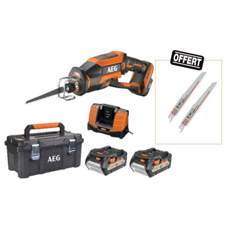 AEG Pack Scie sabre compacte 18V Brushless 2 batteries 5,0Ah 1 chargeur BUS18CBL