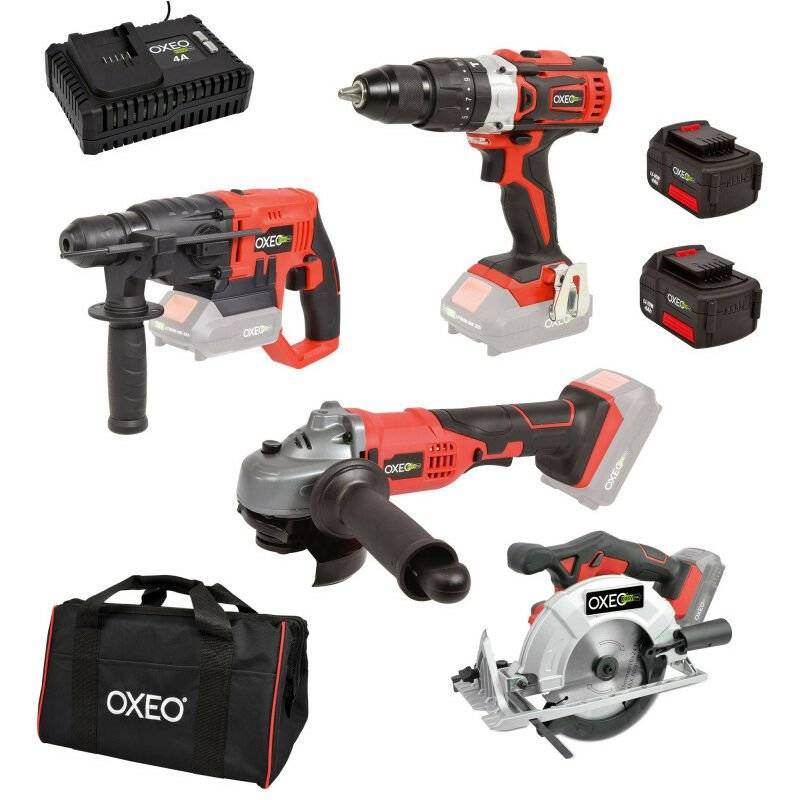 Oxeo - Pack bricolage EASY FULL Perfo / Perceuse / Meuleuse / Scie circulaire