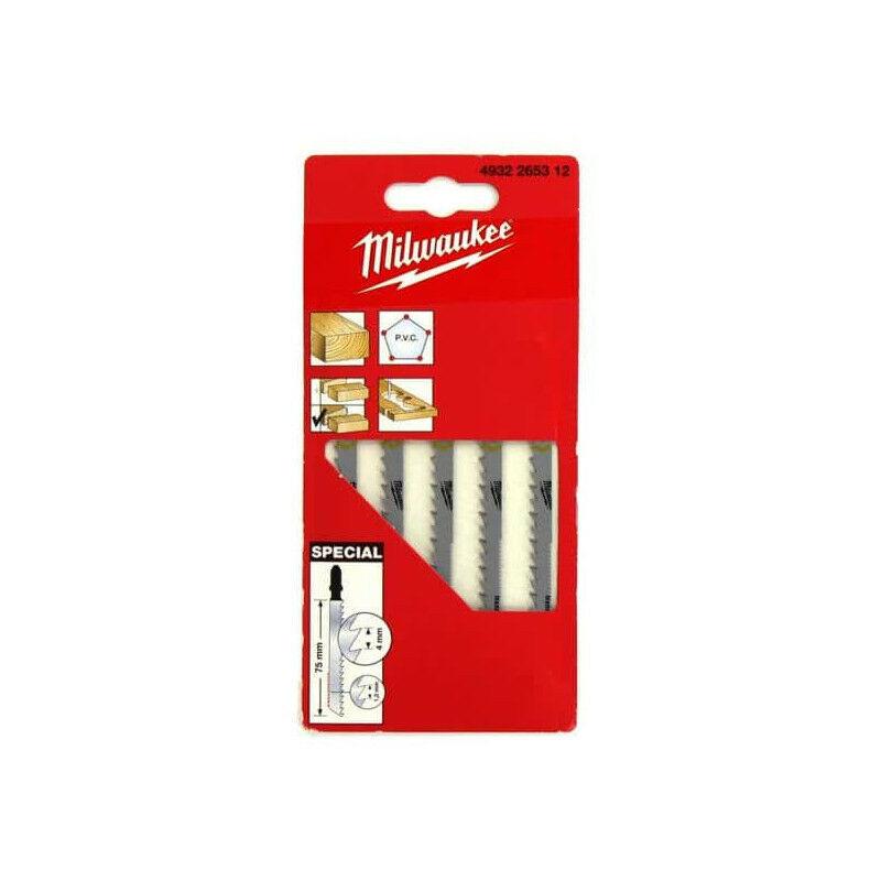 MILWAUKEE Pack de 5 lames scie sauteuse bois/PVC double denture 75 mm 4932265312