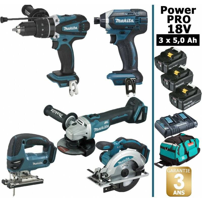 MAKITA Pack Makita Power PRO 5 outils 18V: Perceuse DHP458 + Meuleuse DGA504 +