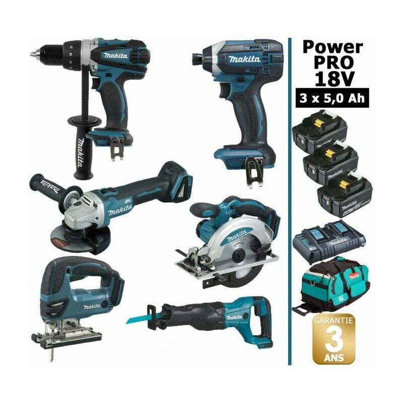 MAKITA Pack Makita Power PRO 6 outils 18V: Perceuse DDF458 + Meuleuse DGA504 +