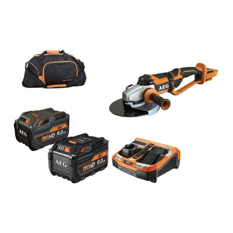 AEG Pack meuleuse brushless AEG 18V 230mm BEWS18-230BL-0 - pack énergie 9.0 Ah