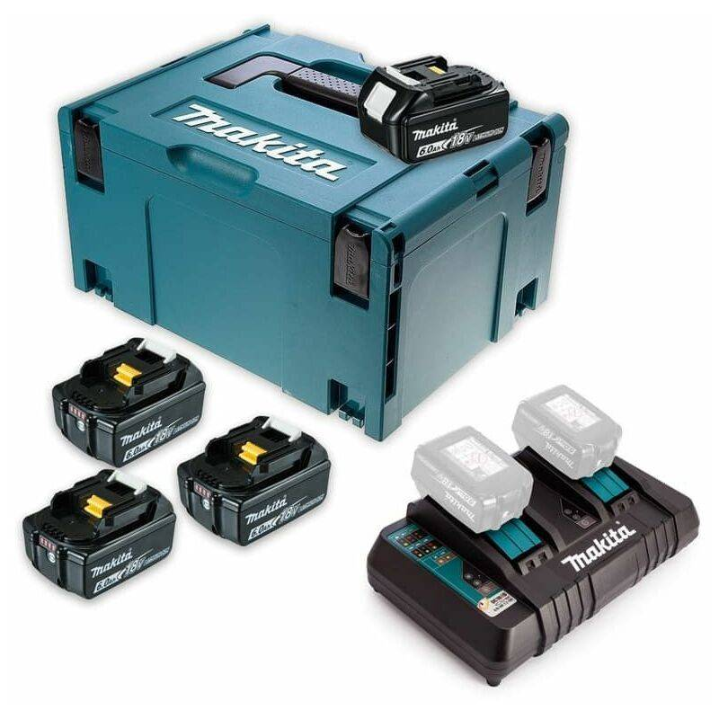MAKITA Pack Énergie 18 V Li-Ion (4x6,0 Ah) avec chargeur double dans MAK-PAC - MAKITA