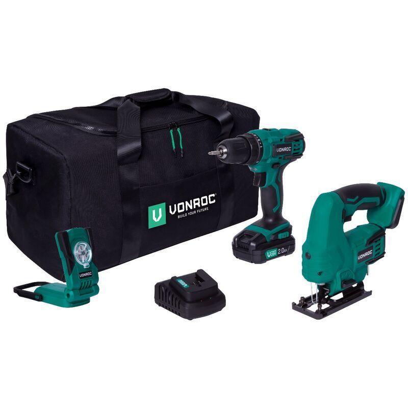 Vonroc - Pack outils sans fil VPower 20V - Perceuse-visseuse, scie sauteuse,
