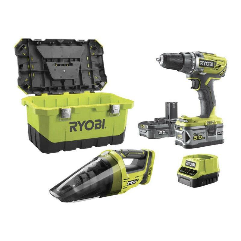RYOBI Pack perceuse-visseuse RYOBI 18 V OnePlus R18DD3 - Aspirateur d'atelier RYOBI