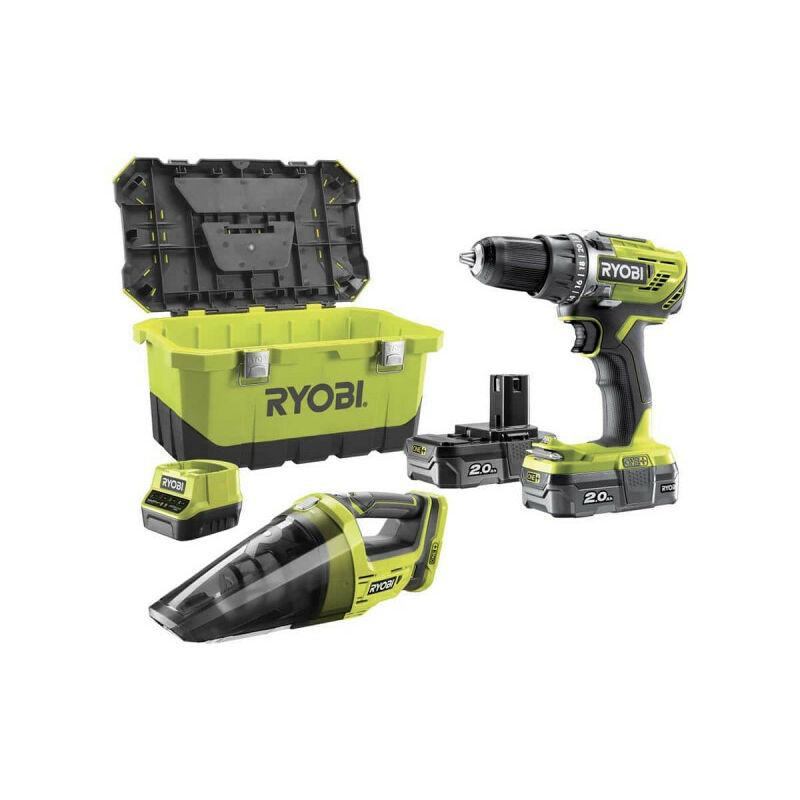 RYOBI Pack perceuse-visseuse RYOBI 18V OnePlus R18DD3-200 - Aspirateur d'atelier