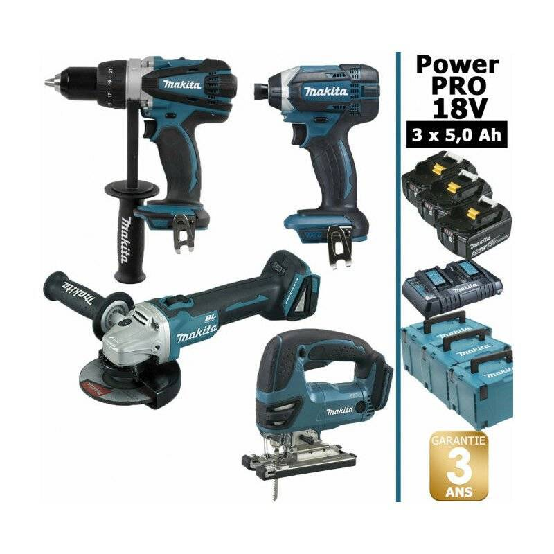 MAKITA Pack Makita Power PRO 18V: Perceuse 91Nm DDF458 + Meuleuse 125mm DGA504 +