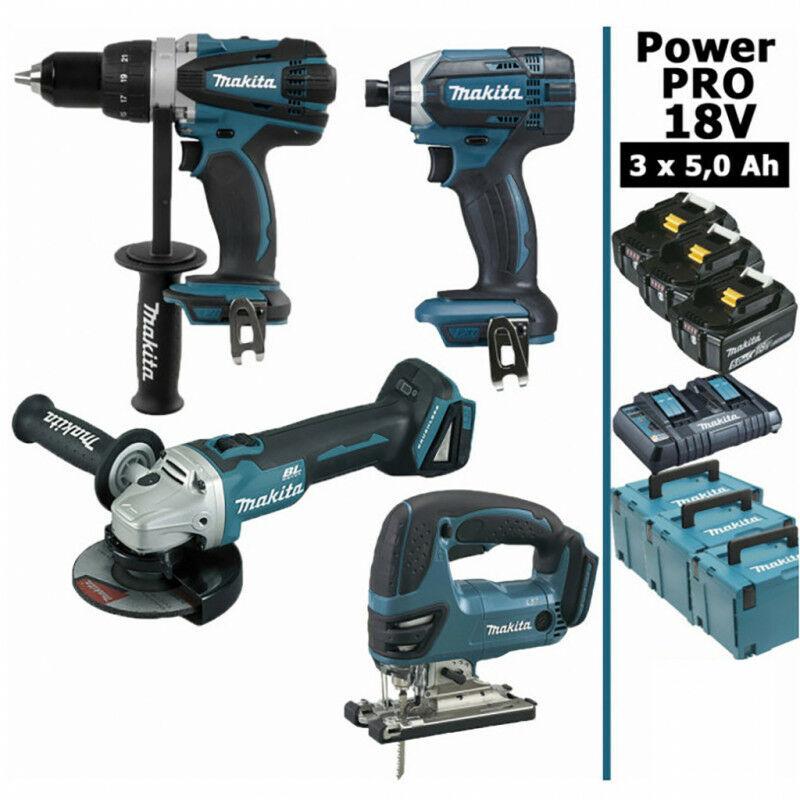 MAKITA Pack Makita Power PRO 18V: Perceuse 91Nm DDF458 + Meuleuse 125mm DGA504 +