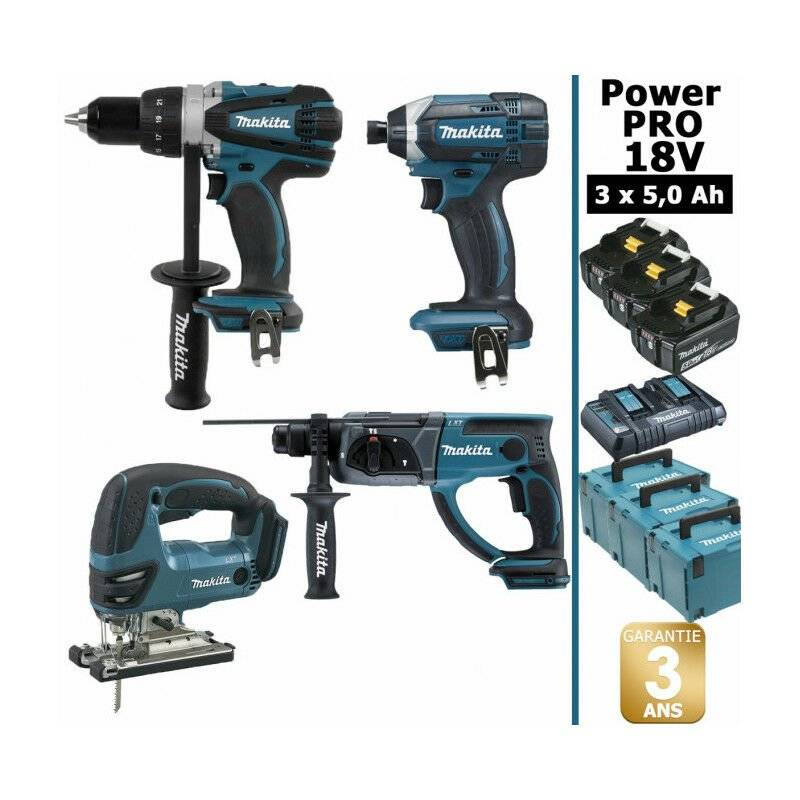 MAKITA Pack Makita Power PRO 18V: Perceuse 91Nm DDF458 + Perfo 2J DHR202 + Visseuse à