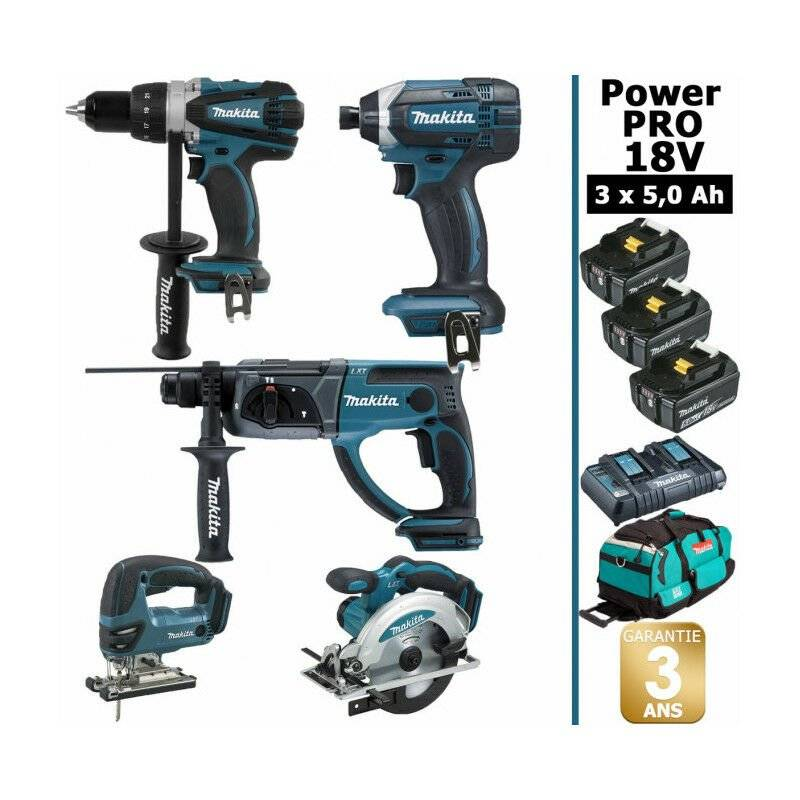 MAKITA Pack Makita Power PRO 5 outils 18V: Perceuse DDF458 + Perfo DHR202 + Visseuse à