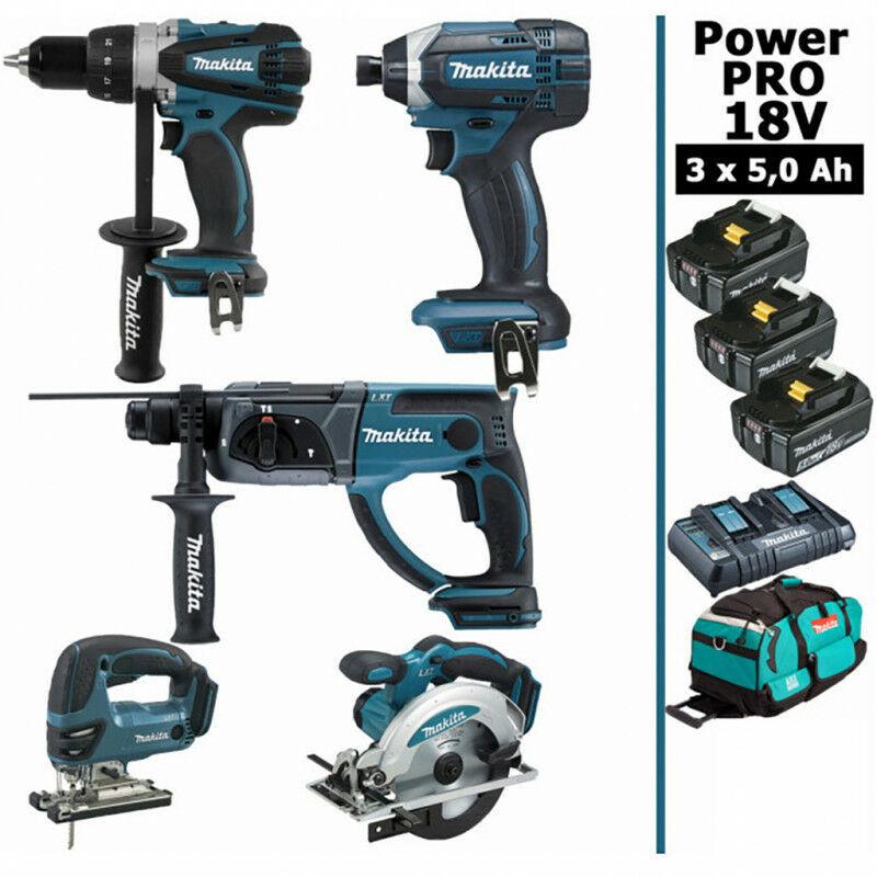 MAKITA Pack Makita Power PRO 5 outils 18V: Perceuse DDF458 + Perfo DHR202 + Visseuse à