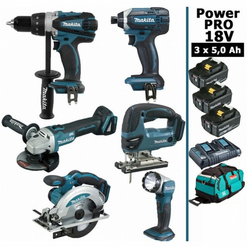 MAKITA Pack Makita Power PRO 6 outils 18V: Perceuse DDF458 + Meuleuse DGA 504 +