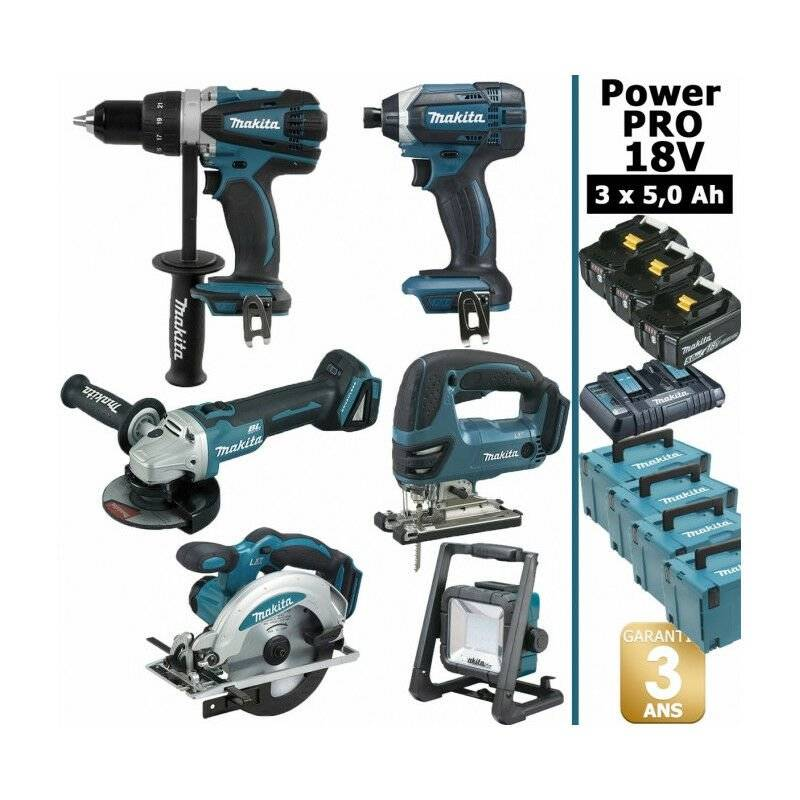 MAKITA Pack Makita Power PRO 6 outils 18V: Perceuse DDF458 + Meuleuse DGA 504 +
