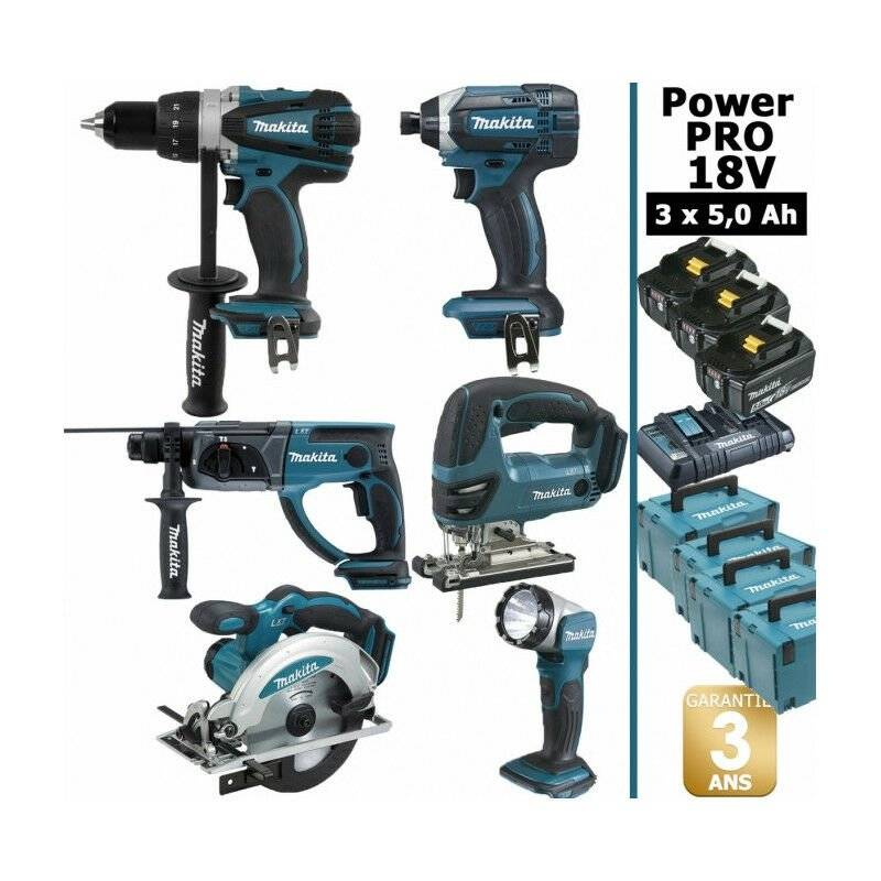 MAKITA Pack Makita Power PRO 6 outils 18V: Perceuse DDF458 + Perfo DHR202 + Visseuse à