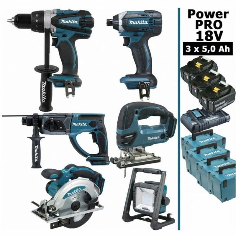 MAKITA Pack Makita Power PRO 6 outils 18V: Perceuse DDF458 + Perfo DHR202 + Visseuse à