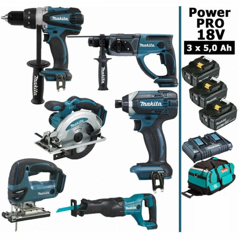 MAKITA Pack Makita Power PRO 6 outils 18V: Perceuse DDF458 + Perforateur DHR202 +