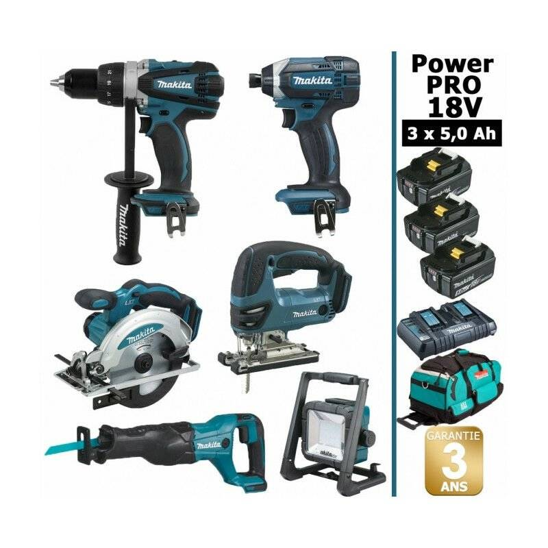 MAKITA Pack Makita Power PRO 6 outils 18V: Perceuse DDF458 + Scie récipro DJR186 +