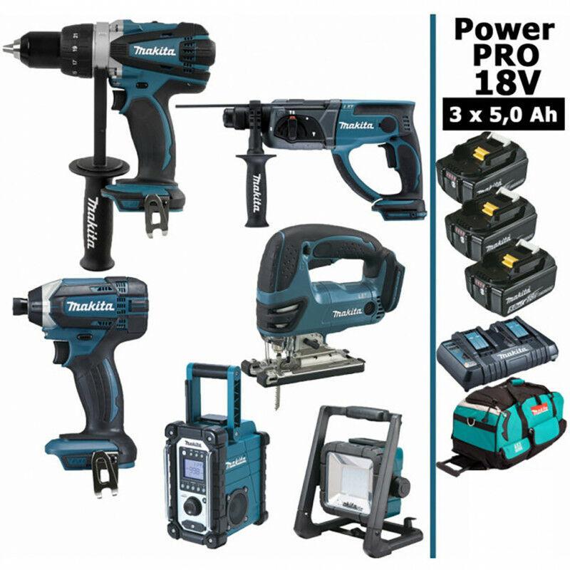 MAKITA Pack Makita Power PRO 6 outils 18V: Perceuse DDF458 + Visseuse à choc DTD152 +