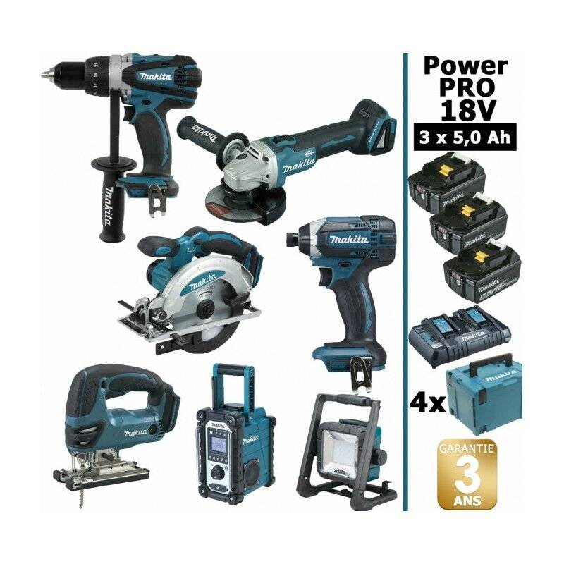 MAKITA Pack Makita Power PRO 7 outils 18V: Perceuse DDF458 + Meuleuse DGA504 +