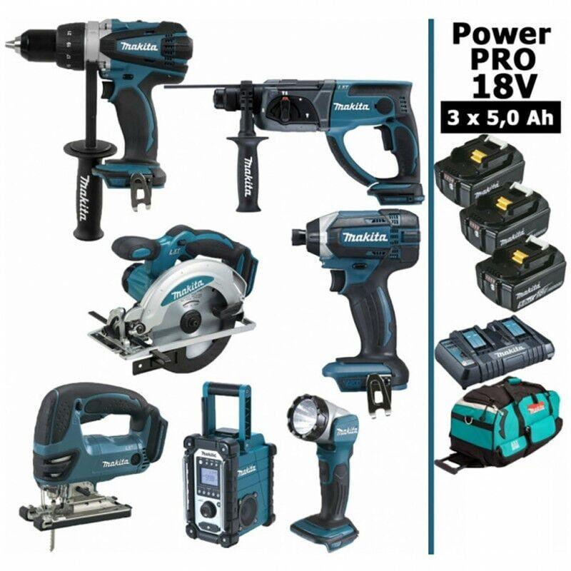 MAKITA Pack Makita Power PRO 7 outils 18V: Perceuse DDF458 + Perfo DHR202 + Visseuse à