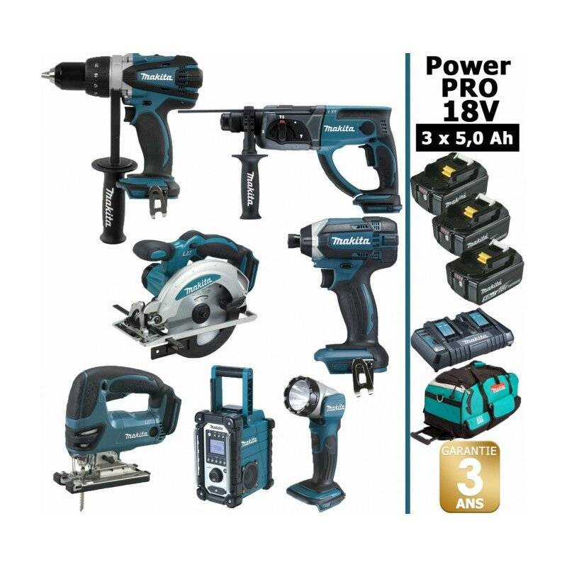 MAKITA Pack Makita Power PRO 7 outils 18V: Perceuse DDF458 + Perfo DHR202 + Visseuse à