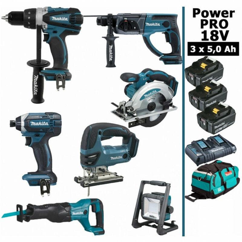 Makita - Pack Power PRO 7 outils 18V: Perceuse DDF458 + Perforateur DHR202 +