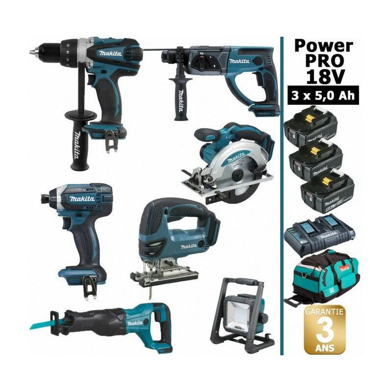 Makita - Pack Power PRO 7 outils 18V: Perceuse DDF458 + Perforateur DHR202 +