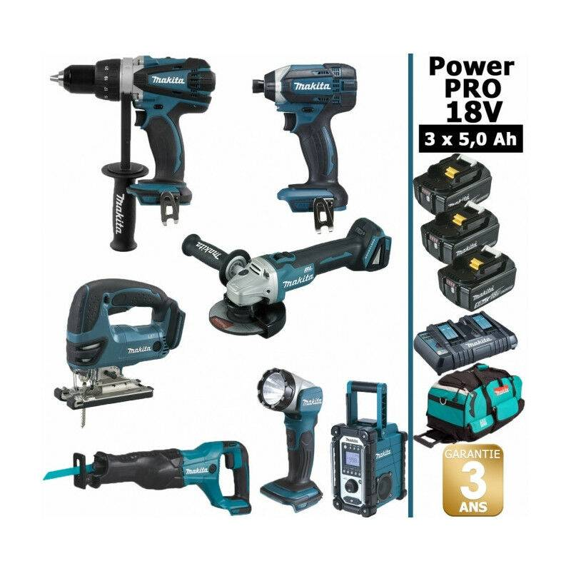 MAKITA Pack Makita Power PRO 7 outils 18V: Perceuse DDF458 + Visseuse à choc DTD152 +