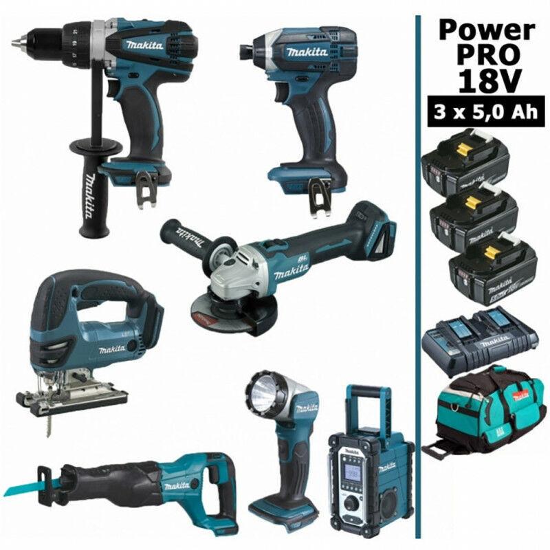 MAKITA Pack Makita Power PRO 7 outils 18V: Perceuse DDF458 + Visseuse à choc DTD152 +
