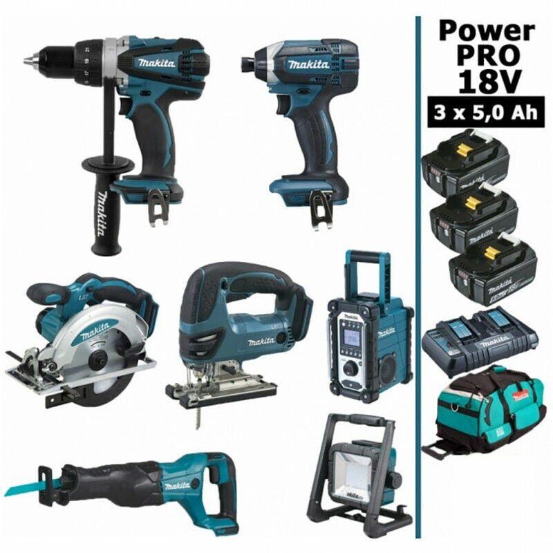 MAKITA Pack Power PRO 7 outils 18V: Perceuse DDF458 + Visseuse à choc DTD152 + Scie