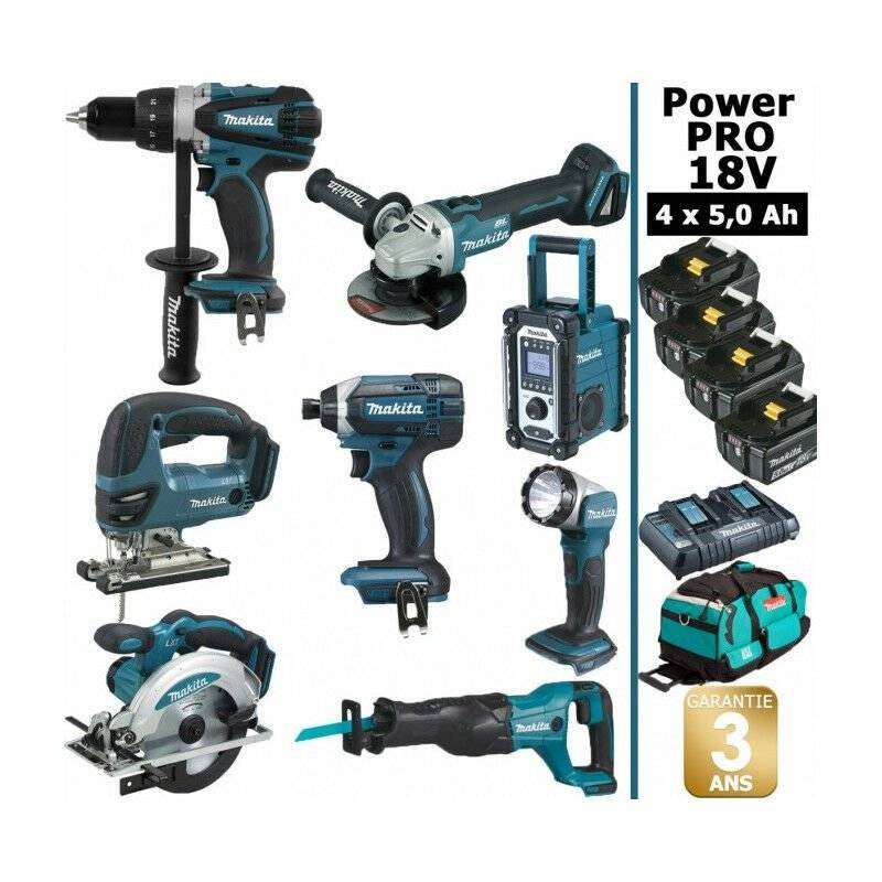 Makita - Pack Power PRO 8 outils 18V: Perceuse DDF458 + Meuleuse DGA504 +