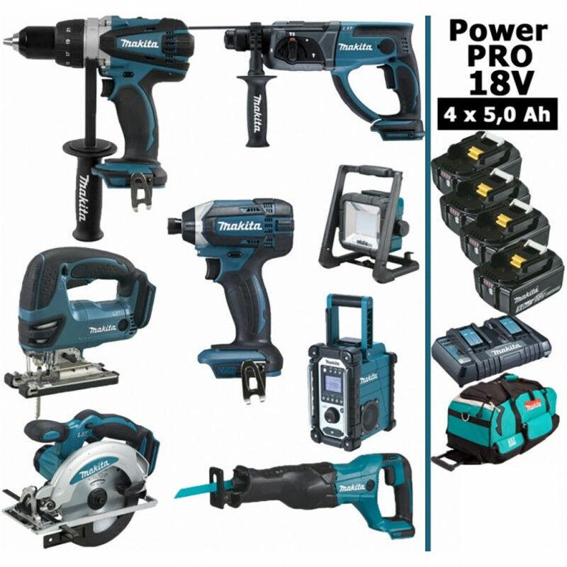 MAKITA Pack Power PRO 8 outils 18V: Perceuse DDF458 + Perfo DHR202 + Visseuse à choc