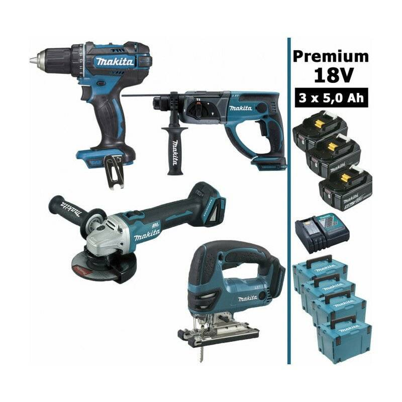 MAKITA Pack Makita Premium 4 machines 18V 5Ah: Perceuse DDF482 + Meuleuse DGA504 +