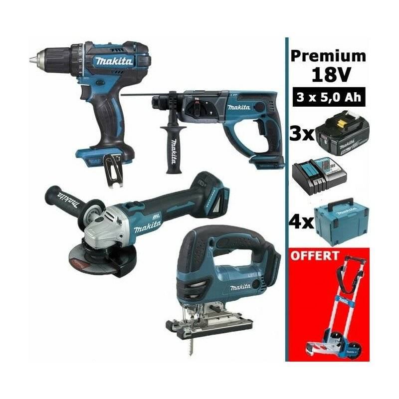 MAKITA Pack Premium 4 machines 18V 5Ah: Perceuse DDF482 + Meuleuse DGA504 +