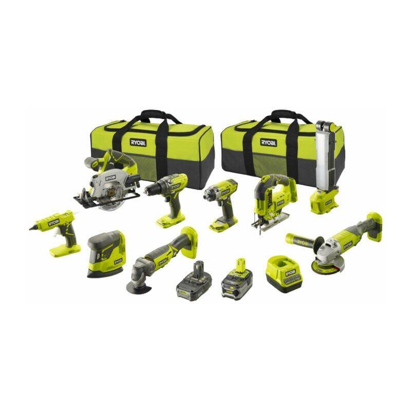 RYOBI Pack Combo 9 outils - 2 batteries 5.0Ah et 2.0Ah - 1 chargeur - R18CK9-252S
