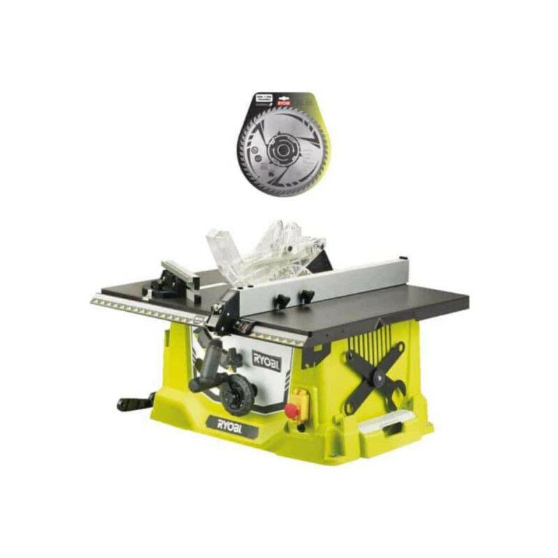 RYOBI Pack RYOBI Scie sur table électrique 1800W 254mm RTS1800-G - lame carbure pour